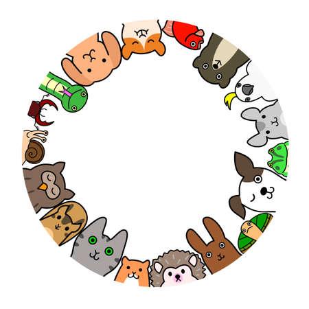 Pet animals in circle Stock Illustratie