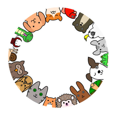 dog white background: Pet animals in circle Illustration