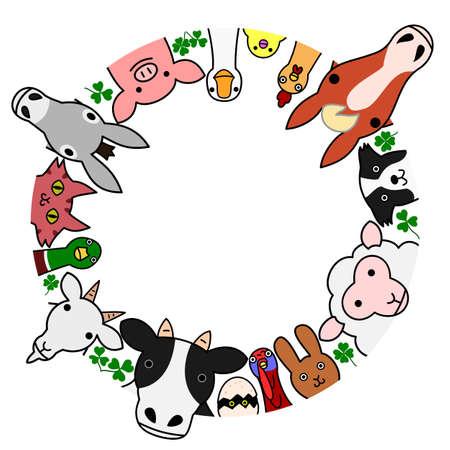 landbouwhuisdieren in cirkel met een kopie ruimte Stock Illustratie