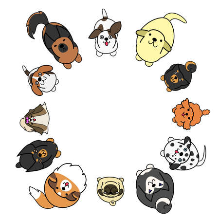 dogs looking up in circle with copy space Stock Illustratie