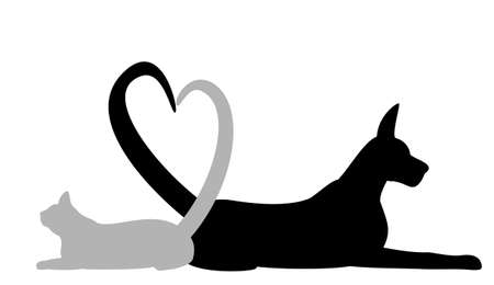 Dog and cat making Heart with tail
