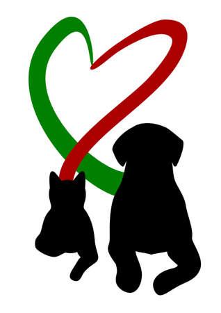 Hond en kat die hart met staart Stock Illustratie