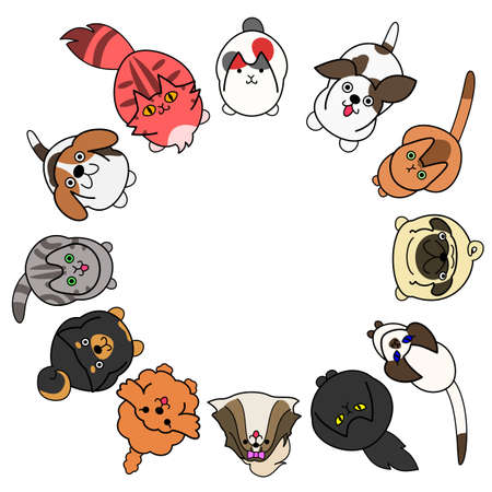 looking up cats and dogs in circle with copy space