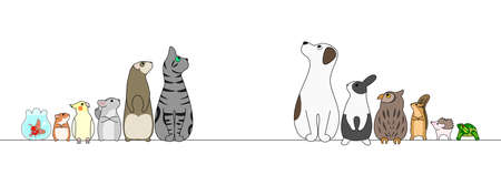 various pets in a row, looking away