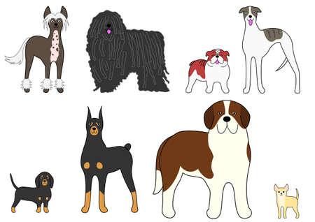 対照的な犬の 4 つのペア  イラスト・ベクター素材