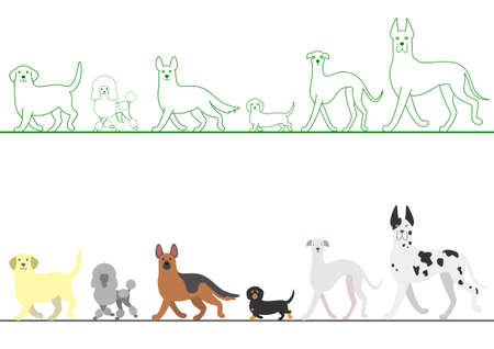 various: set of various dogs walking in line Illustration
