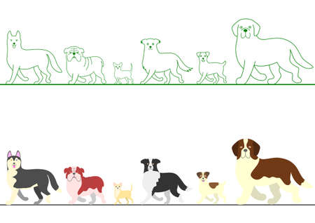 rows: set of various dogs walking in line Illustration