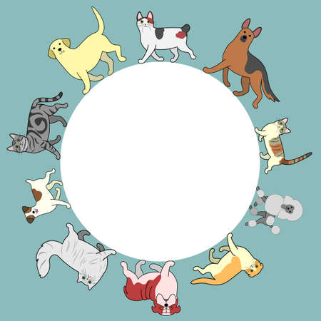 dogs and cats circle frame with copy space