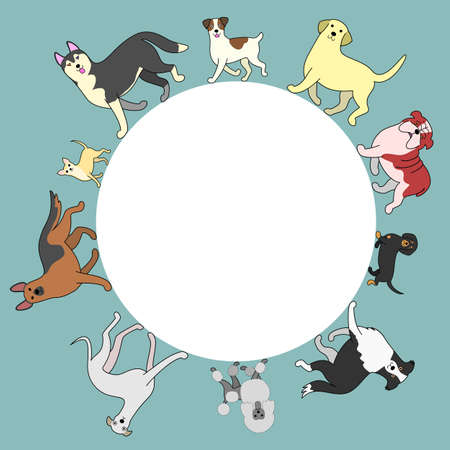 whole body: dogs circle frame with copy space