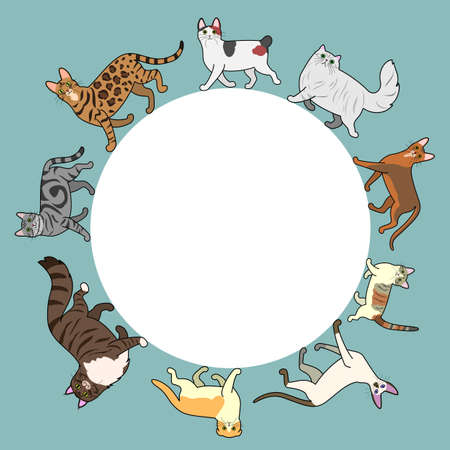 bengal cat: cats circle frame with copy space Illustration