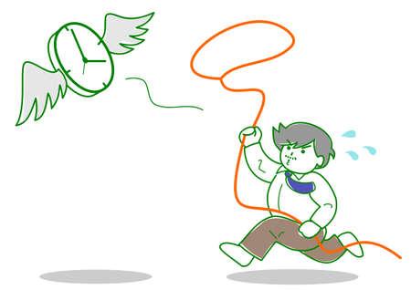 Man chasing flying time Illustration