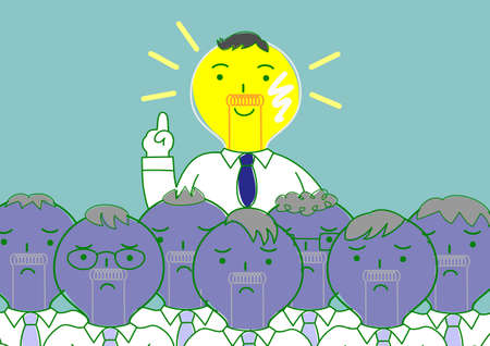 come up to: bulb head man finding idea among others Illustration