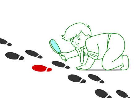 Man watching footprints through magnifying glass