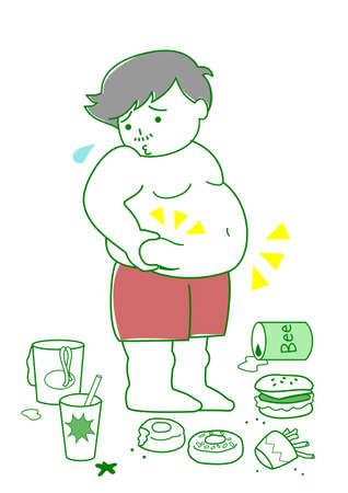 hombre preocupado: Hombre obeso con los alimentos Vectores