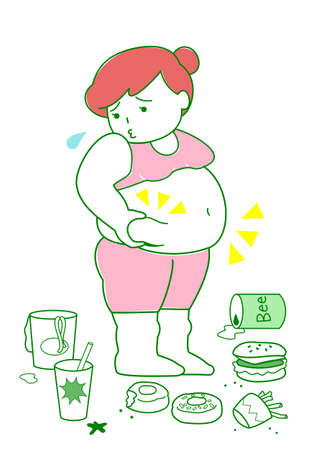 flabby: Obese woman with foods Illustration
