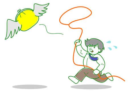 make money fast: Man chasing flying money