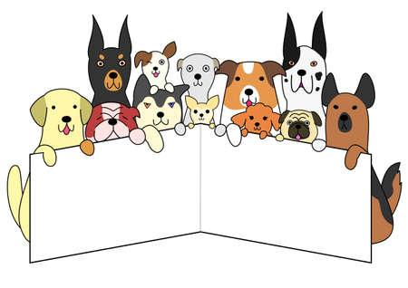 白いカードを持つ犬  イラスト・ベクター素材
