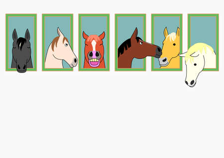 buckskin horse: Horses with head out stable windows