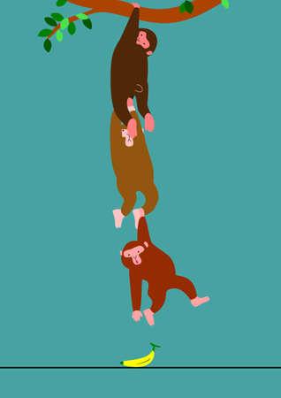 grabbing: Monkeys trying to take a banana Illustration