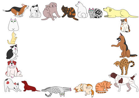 frame of various dogs and cats postures Illustration
