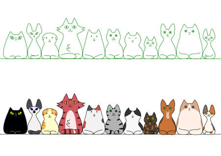 cats loafing in a row Illustration