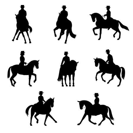 pirouette: dressage action silhouette set