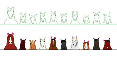 in a row: Horses in a row