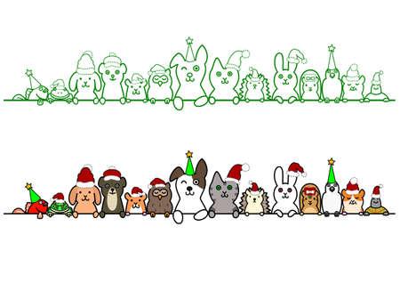 kerstmis gezelschapsdieren in een rij met een kopie ruimte Stock Illustratie