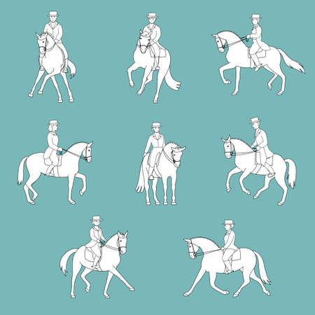 reins: dressage action monochrome set
