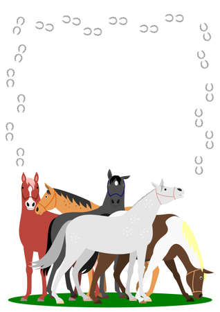 racing: Horses with horseshoe frame on white background