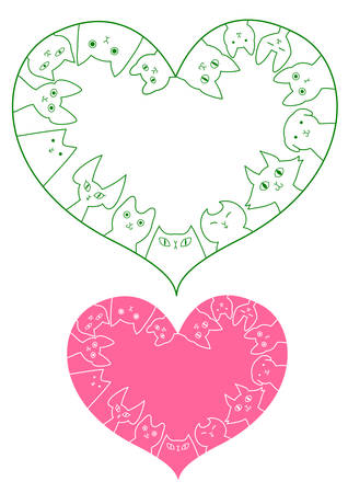 heart shaped: heart shaped cats border set Illustration