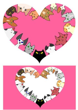 heart shaped cats border set Illustration