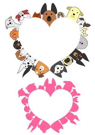 valentines dog: heart shaped dogs border set