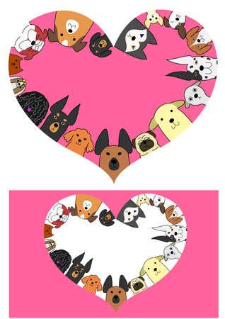 ハート犬ボーダー セット  イラスト・ベクター素材
