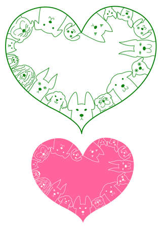 animal vector: heart shaped dogs border set