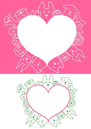 shih: heart shaped dogs border set