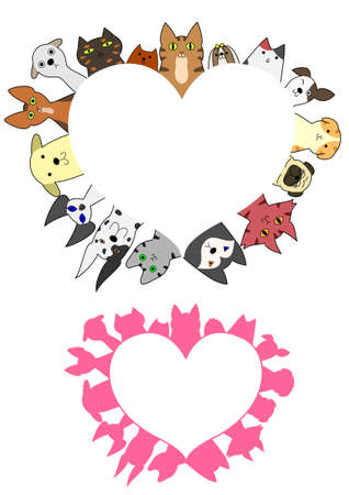 great dane: heart shaped dogs and cats border set