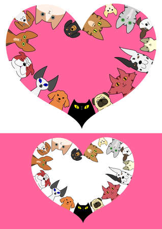 heart shaped dogs and cats border set
