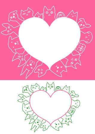 shih: heart shaped dogs and cats border set