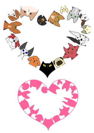 abyssinian: heart shaped dogs and cats border set