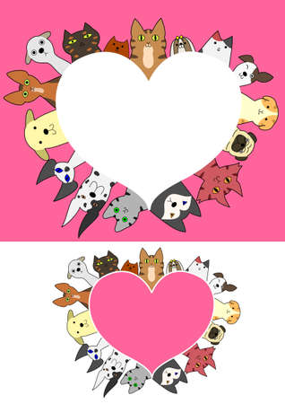 shih tzu: heart shaped dogs and cats border set