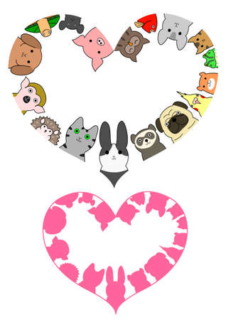 face silhouette: heart shaped pet animals border set Illustration