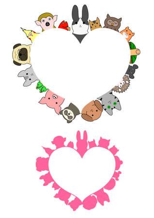 vector set: heart shaped pet animals border set Illustration