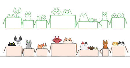 cats in boxes in a raw Stock Illustratie