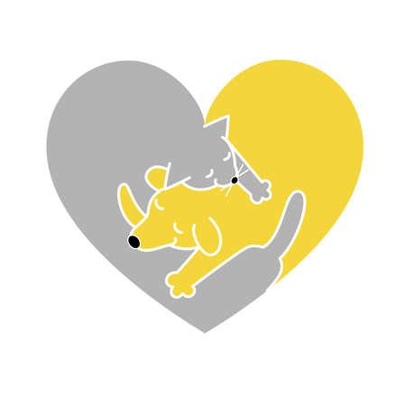 heart shaped logo, cat and dog sleeping together Illustration
