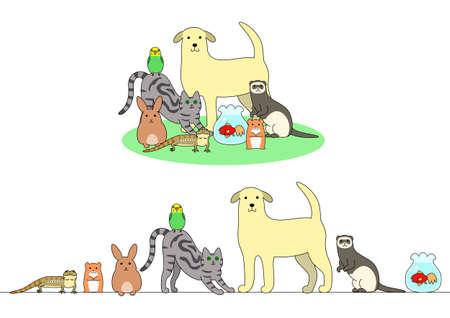 Conjunto de animales domésticos ejemplo, en una fila y un grupo