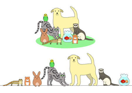 Set of pets illustration, in a row and a group