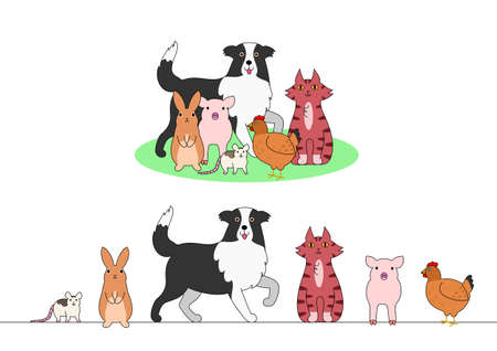 animal border: Set of farm animals, a row and a group Illustration