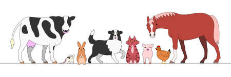 border collie: farm animals in a row Illustration
