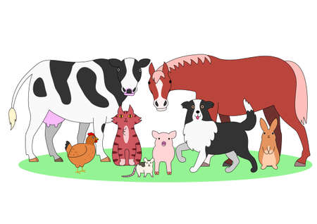 farm animals in a group Ilustrace